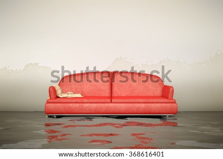 A 3d rendering of an interior water damage red sofa - stock photo