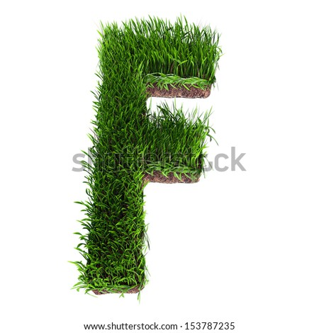 A 3D rendering of an upper case F in grass - stock photo