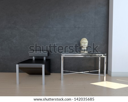 A 3d rendering of black chair in front of dark wall with decoration - stock photo