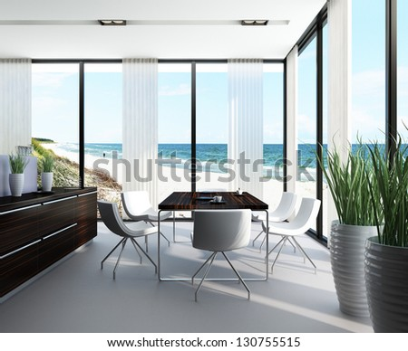 A 3D rendering of dining room in a villa - stock photo