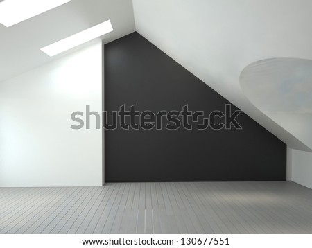A 3D rendering of empty room - stock photo