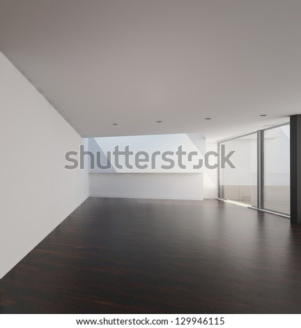A 3D rendering of empty room with floor to ceiling windows