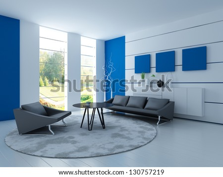 A 3D rendering of light living room with black sofa