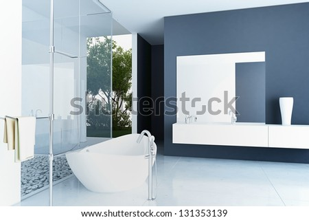 A 3D rendering of modern bathroom interior - stock photo