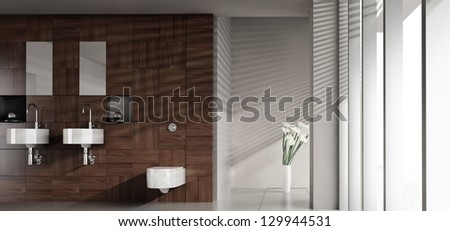 A 3D rendering of modern bathroom with double basin - stock photo