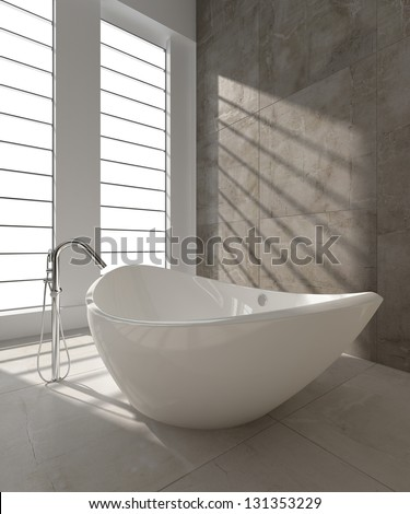A 3D rendering of modern bathtub - stock photo
