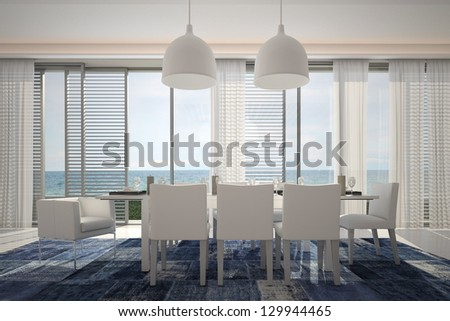 A 3D rendering of modern dining table with floor to ceiling windows - stock photo