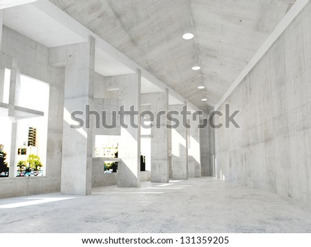 A 3D rendering of modern hall - stock photo