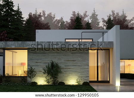 A 3D rendering of modern house facade at night - stock photo