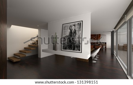 A 3D rendering of modern interior with stairs - stock photo