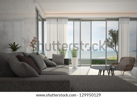 A 3D rendering of modern living room with floor to ceiling windows - stock photo