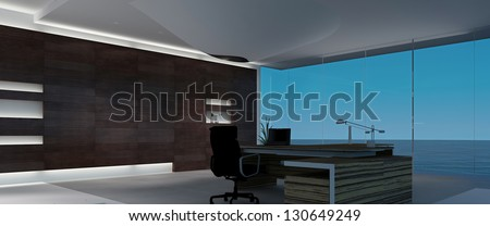 A 3D rendering of modern office interior - stock photo