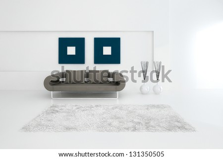 A 3D rendering of modern sofa - stock photo