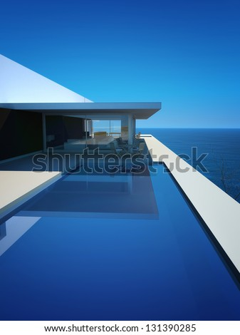 A 3D rendering of modern villa with infinity pool - stock photo