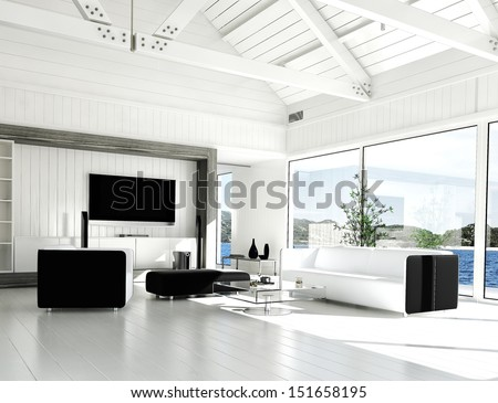 A 3D rendering of modern white living room with huge windows - stock photo