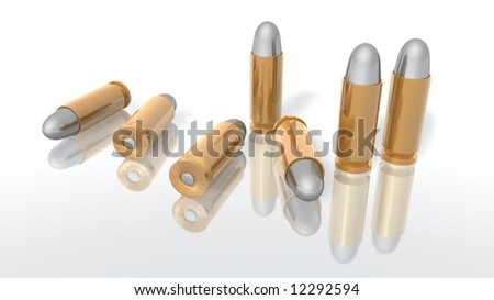 a 3d rendering of some bullets - stock photo