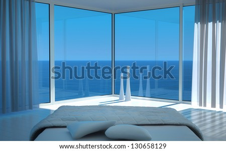 A 3D rendering of sunny bedroom interior - stock photo