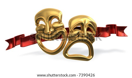 A 3d rendering of the classic comedy-tragedy theater masks with a red ribbon behind isolated on white Background Plus Clipping Path! - stock photo