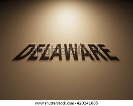 A 3D Rendering of the Shadow of an upside down text that reads Delaware.