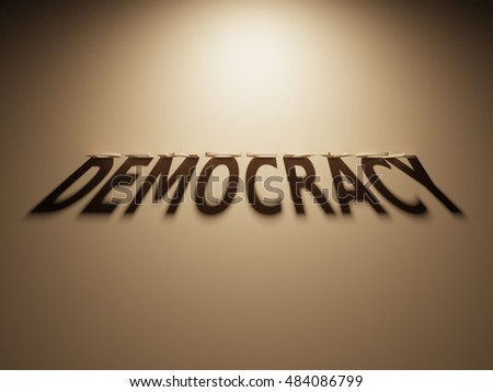 A 3D Rendering of the Shadow of an upside down text that reads Democracy