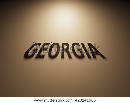 A 3D Rendering of the Shadow of an upside down text that reads Georgia.