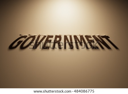 A 3D Rendering of the Shadow of an upside down text that reads Government.