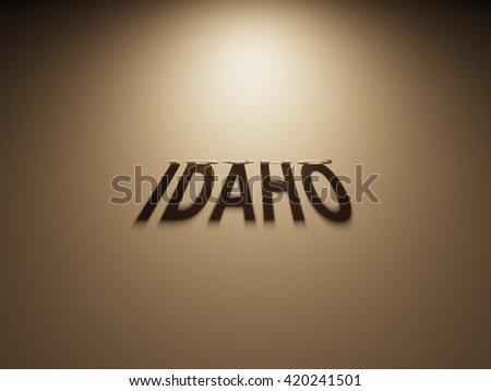 A 3D Rendering of the Shadow of an upside down text that reads Idaho.