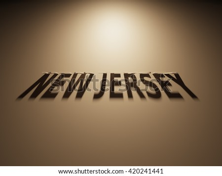 A 3D Rendering of the Shadow of an upside down text that reads New Jersey.