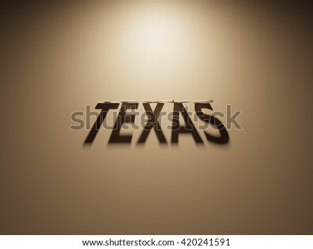 A 3D Rendering of the Shadow of an upside down text that reads Texas.
