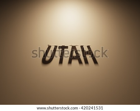 A 3D Rendering of the Shadow of an upside down text that reads Utah.