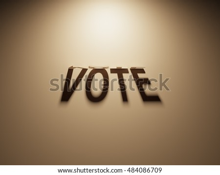 A 3D Rendering of the Shadow of an upside down text that reads Vote.
