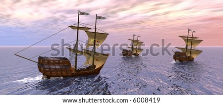a 3d rendering of three vessels in the morning - stock photo