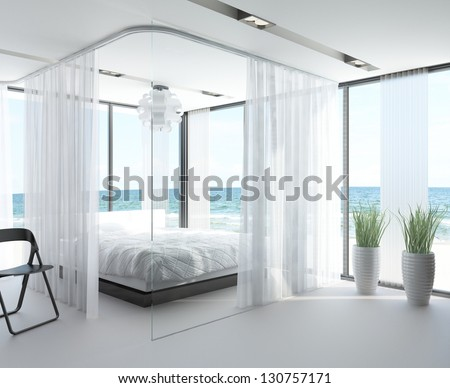 A 3D rendering of white bedroom interior with large bed - stock photo
