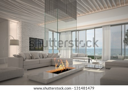 A 3D rendering of white living room interior - stock photo