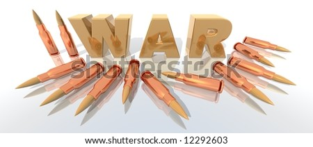 a 3d rendering to illustrate war with some bullets - stock photo