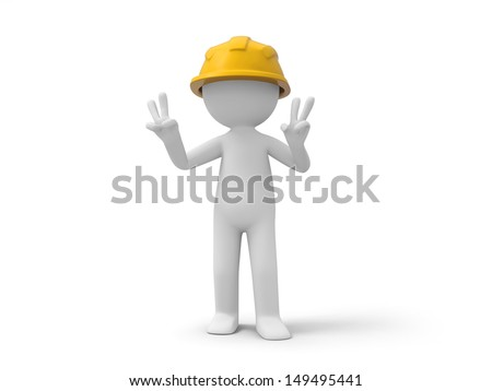 A 3d safety worker making a �V� gesture
