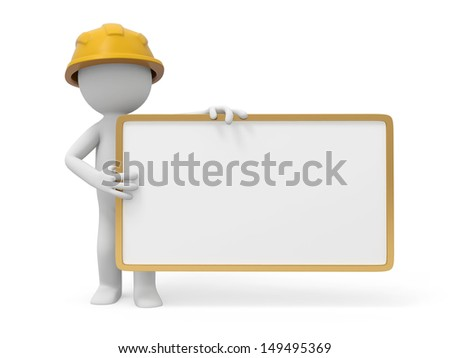 A 3d safety worker standing behind a message board - stock photo