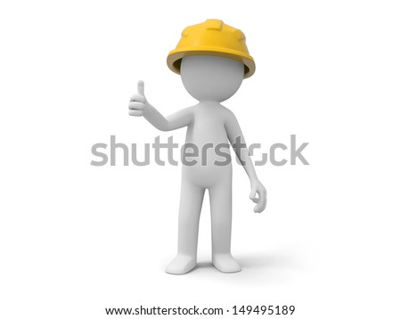 A 3d safety worker standing /safety/ worker - stock photo