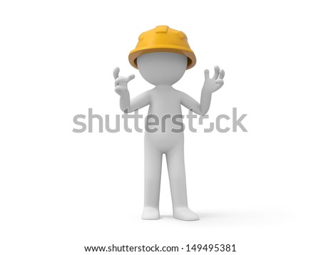 A 3d safety worker standing/ safety/worker
