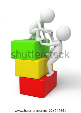 A 3d small people help another one. 3d image. Isolated white background