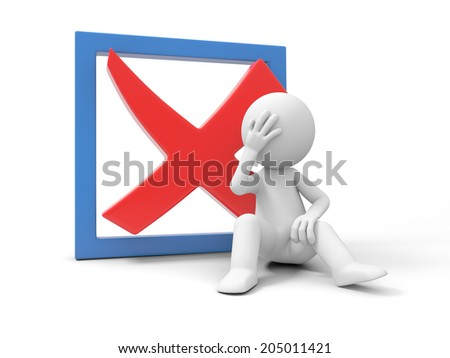 A 3d small people sitting and thinking with a rejected sign, Isolated on white background