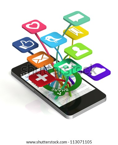 A 3D smart phone sharing a web page with social media applications popping out of the front of the device - stock photo