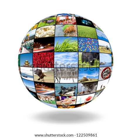 a 3D sphere of many photos, a collage - stock photo