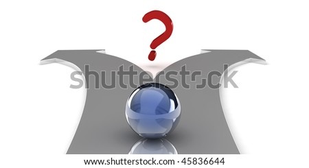 A 3d sphere on an arrow shaped path, isolated on white background - stock photo