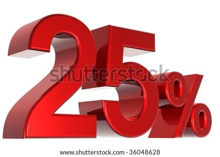 A 3d twenty-five percent concept - stock photo