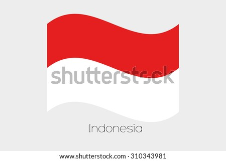 A 3D Waving Flag Illustration of the country of  Indonesia