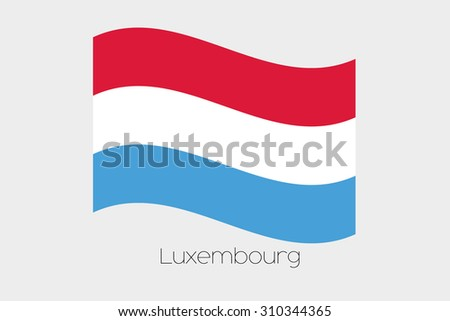 A 3D Waving Flag Illustration of the country of  Luxembourg