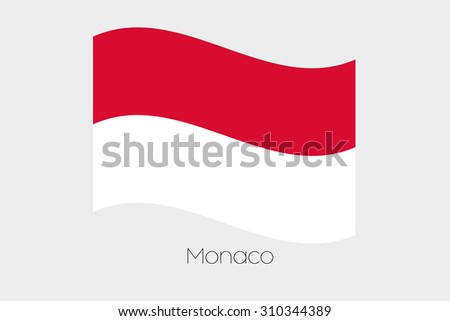 A 3D Waving Flag Illustration of the country of  Monaco