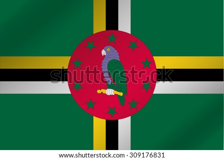 A 3D Wavy Flag Illustration of the country of  Dominica