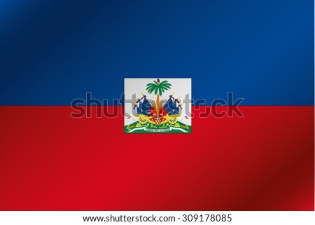 A 3D Wavy Flag Illustration of the country of  Haiti